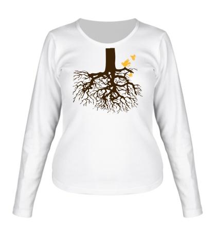 Женский лонгслив Корни дерева и птички