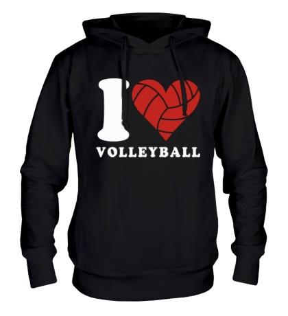 Толстовка с капюшоном I Love Volleyball