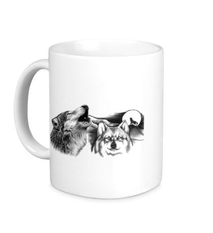 Керамическая кружка Воющие волки