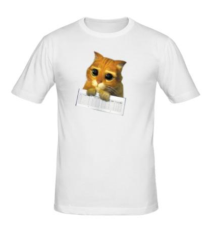 Мужская футболка Котёнок с зачёткой