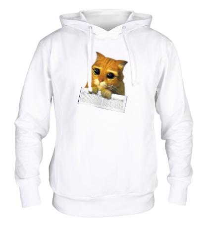 Толстовка с капюшоном Котёнок с зачёткой