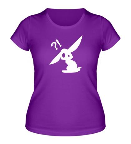 Женская футболка Заяц в шоке