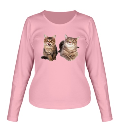 Женский лонгслив Кошка и котёнок