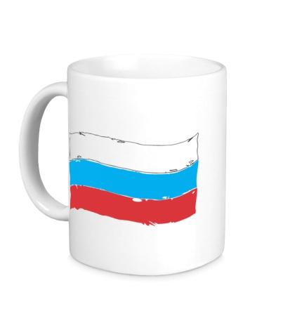 Керамическая кружка Российский флаг