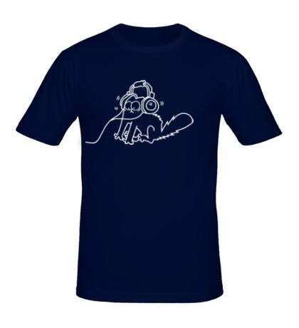 Мужская футболка Simons Cat в наушниках
