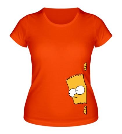 Женская футболка Барт подглядывает
