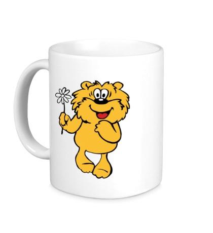 Керамическая кружка Медвежонок с ромашкой
