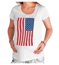 Футболка для беременной Американский флаг
