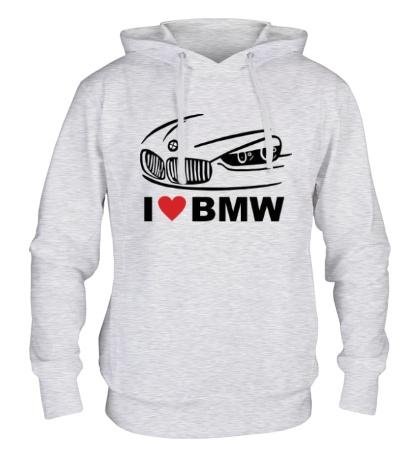 Толстовка с капюшоном I love BMW