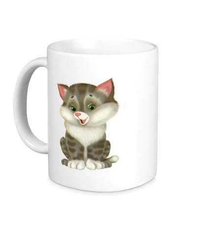 Керамическая кружка Пушистый котенок