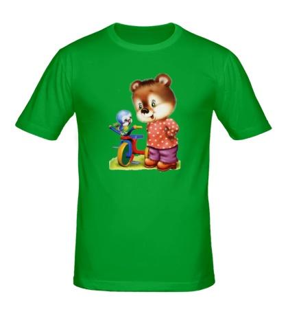 Мужская футболка Медвежонок и птичка