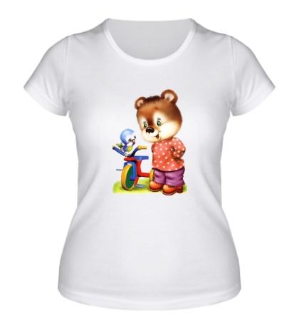 Женская футболка Медвежонок и птичка