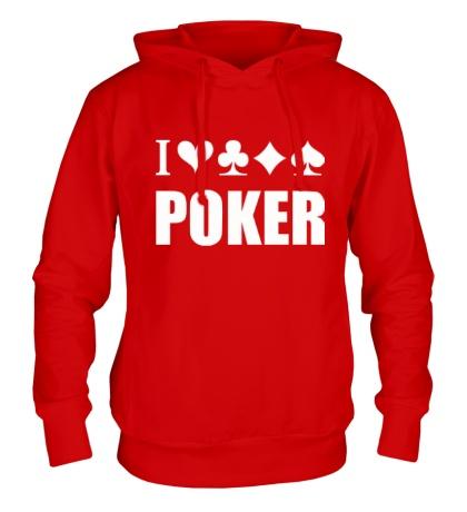 Толстовка с капюшоном I love poker