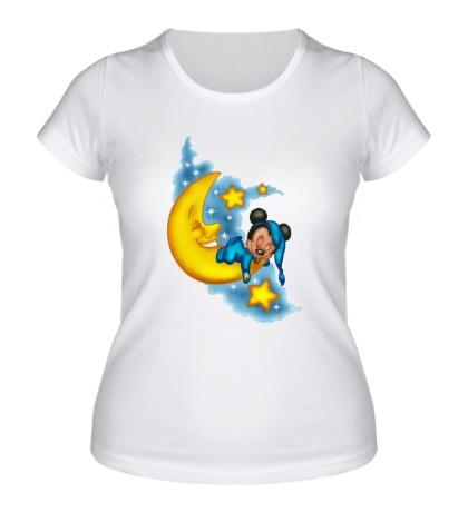 Женская футболка Mickey спит