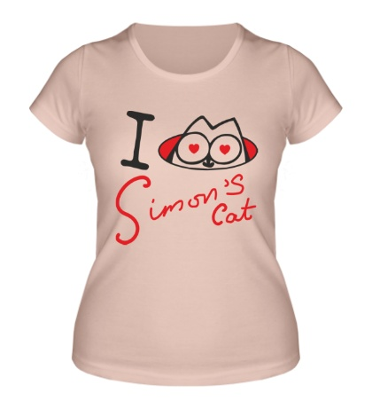 Женская футболка I love Simons Cat