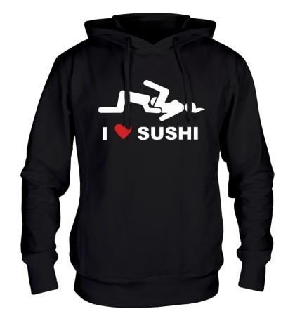 Толстовка с капюшоном I love sushi