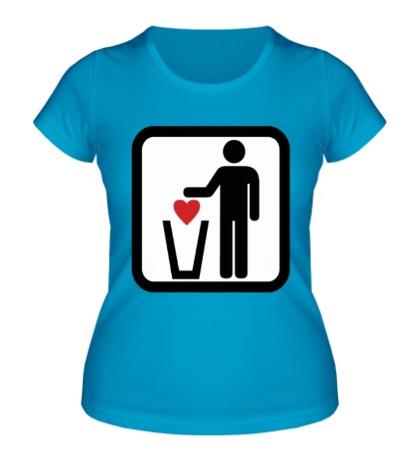 Женская футболка «Любовь в урну»
