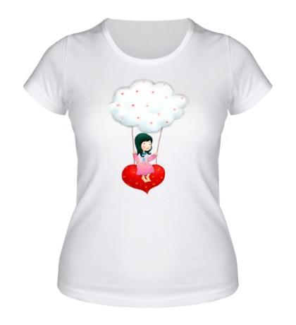 Женская футболка «Девочка на облаке»