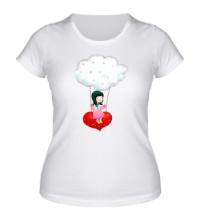 Женская футболка Девочка на облаке