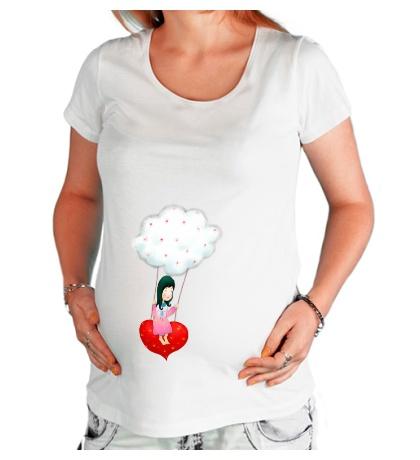 Футболка для беременной «Девочка на облаке»