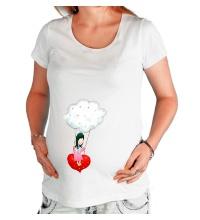 Футболка для беременной Девочка на облаке