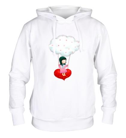 Толстовка с капюшоном «Девочка на облаке»