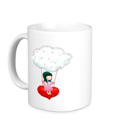 Керамическая кружка «Девочка на облаке»