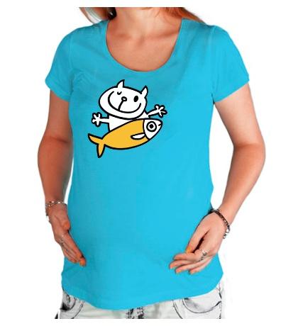 Футболка для беременной «Кот и большая рыба»