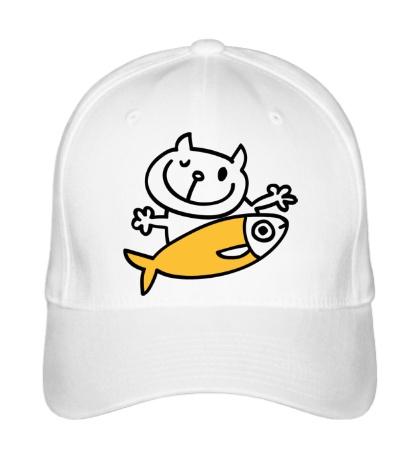Бейсболка «Кот и большая рыба»