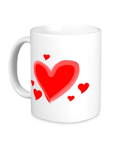 Керамическая кружка Сердечки