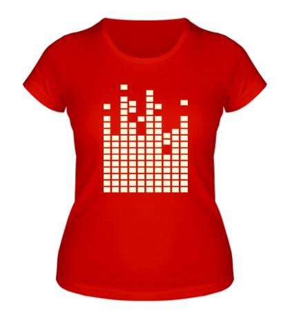 Женская футболка Светящийся эквалайзер