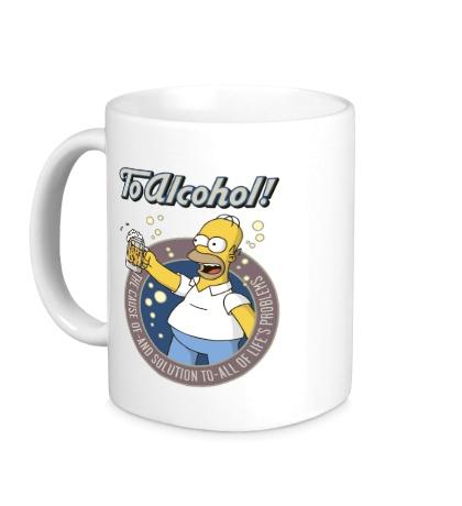 Керамическая кружка Homer Simson, To Alcohol