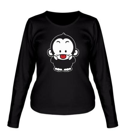 Женский лонгслив Веселая обезьянка