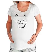 Футболка для беременной Милый котенок