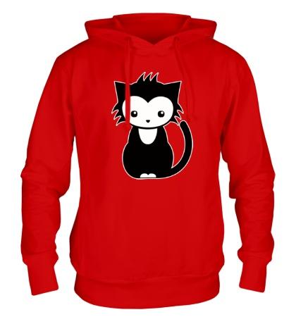 Толстовка с капюшоном Сонный котенок