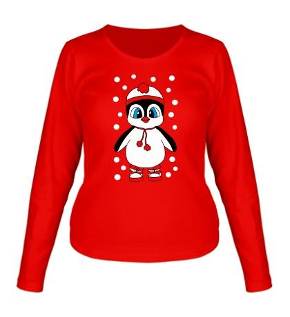 Женский лонгслив Новогодний пингвин