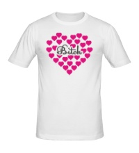 Мужская футболка Bitch сердце