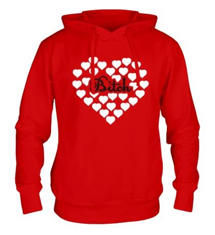 Толстовка с капюшоном «Bitch сердце»