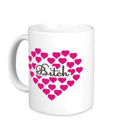 Керамическая кружка «Bitch сердце»