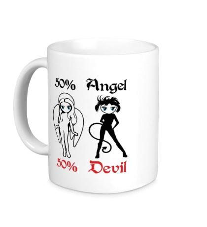 Керамическая кружка 50% Angel 50% Devil