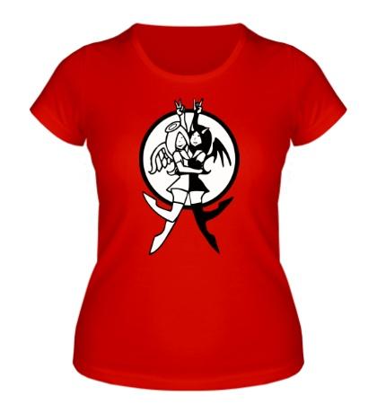 Женская футболка Девушки ангелы и демоны