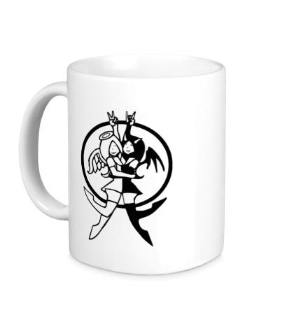 Керамическая кружка Девушки ангелы и демоны