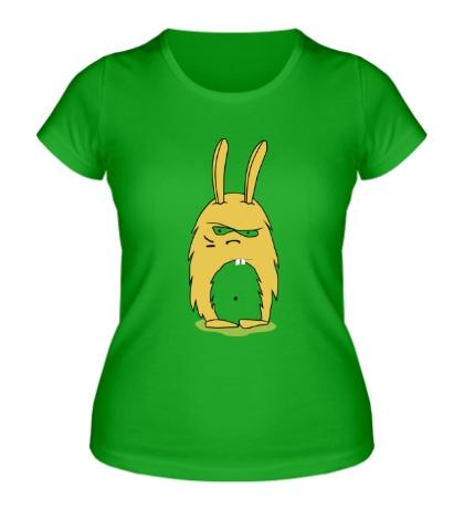 Женская футболка Угрюмый заяц