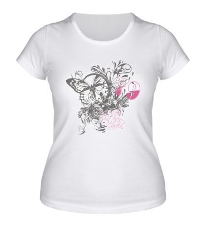Женская футболка Бабочка и цветы
