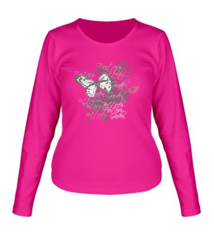 Женский лонгслив Бабочка и цветы