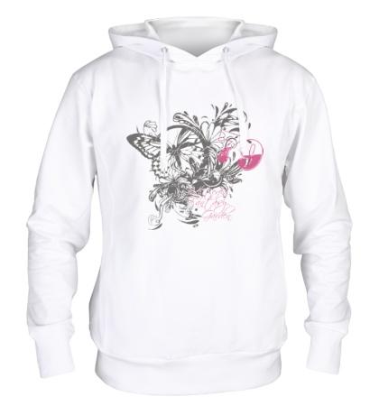 Толстовка с капюшоном Бабочка и цветы