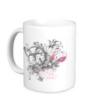 Керамическая кружка Бабочка и цветы