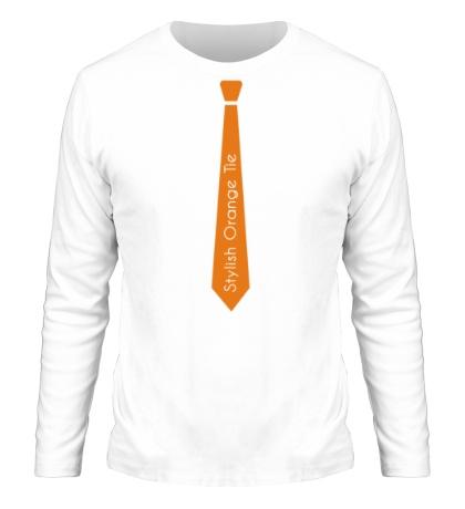 Мужской лонгслив Стильный оранжевый галстук