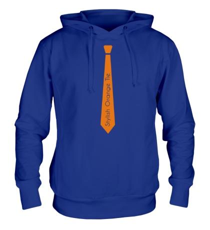 Толстовка с капюшоном Стильный оранжевый галстук
