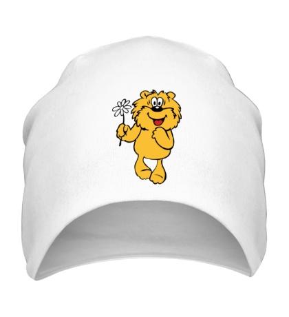 Шапка Медвежонок с ромашкой